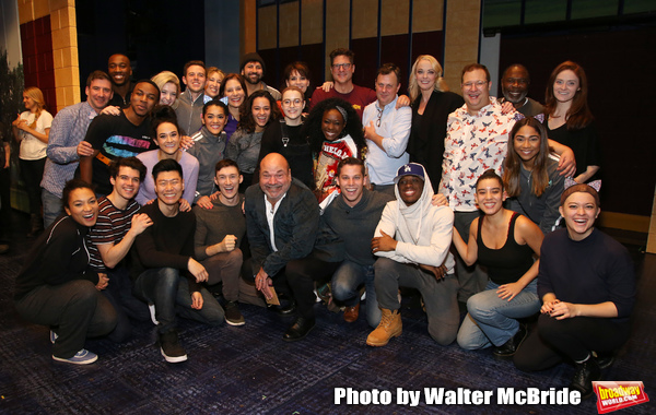 "Director Casey Nicholaw  with the cast During the Actors' Equity Opening Night Legacy Robe honoring Vasthy Mompoint for ""The Prom"" at The Longacre Theatre on November 15, 2018 in New York City."