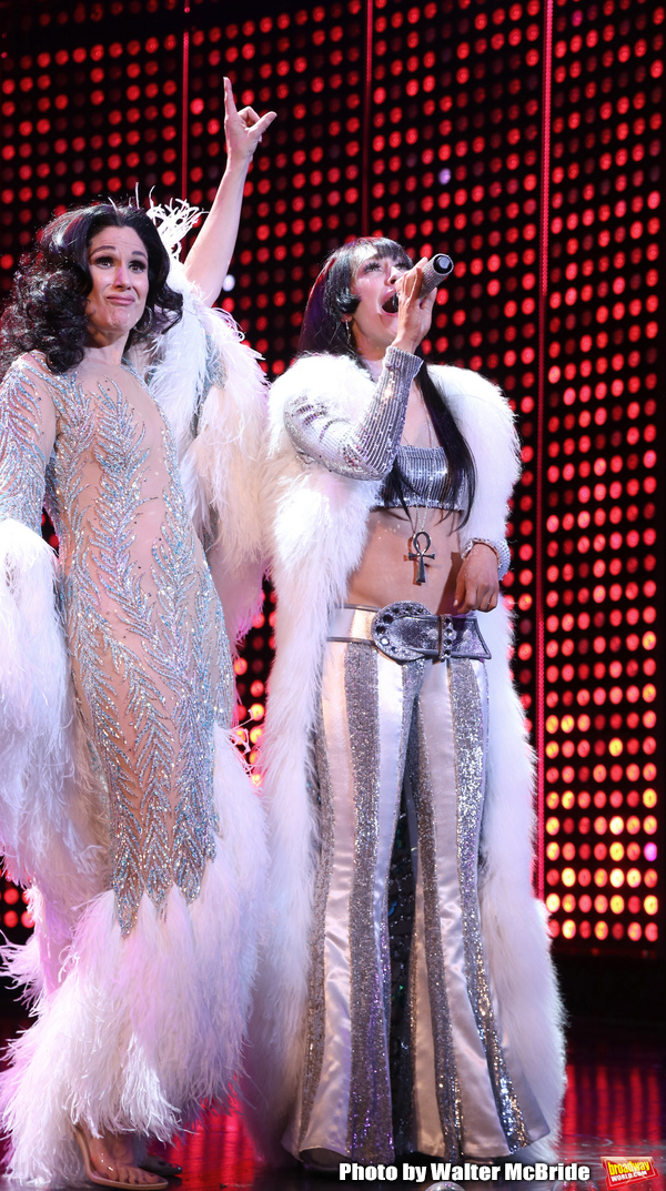 Stephanie J. Block and Micaela Diamond during the Pre-Broadway Premiere Opening Night Curtain Call for 'The Cher Show' at the Oriental Theatre on June 28, 2018 in Chicago.