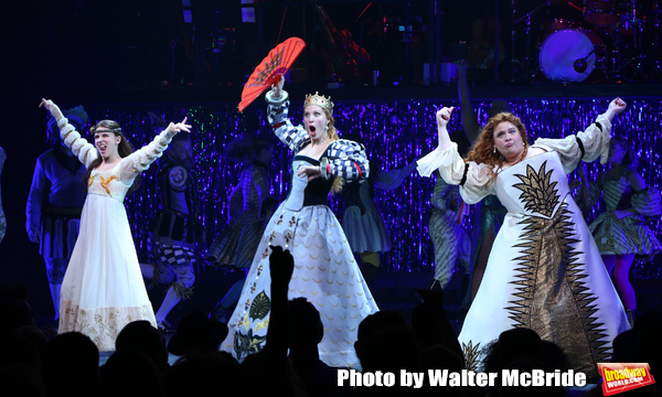 Alexandra Socha, Rachel York and Bonnie Milligan during the Opening Night Performance Curtain Call of 'Head Over Heels' at the Hudson Theatre on July 26, 2018 in New York City.