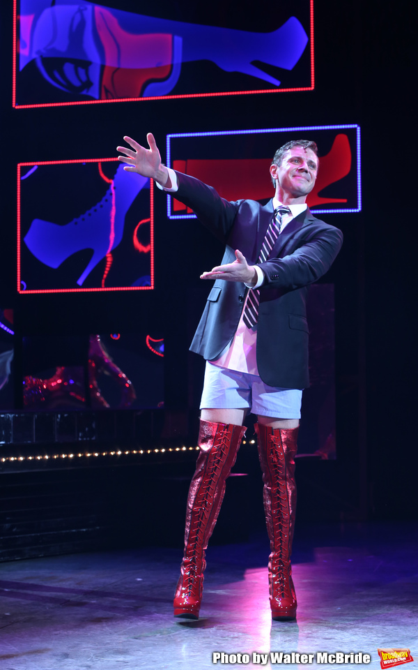 """Jake Shears takes his curtain call bows during his  Broadway Debut In """"Kinky Boots"""" at the Al Hirschfeld Theatre on January 8, 2018 in New York City."""