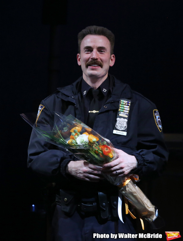 Chris Evans during the the Broadway Opening Night Performance curtain call for 'Lobby Photo