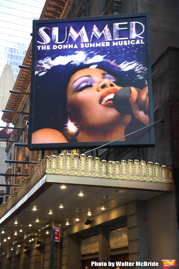 "Theatre Marquee unveiling for  the ""Summer: The Donna Summer Musical"" starring LaChanze, Ariana DeBose, and Storm Lever on February 9, 2018 at the Lunt-Fontanne Theatre in New York City."
