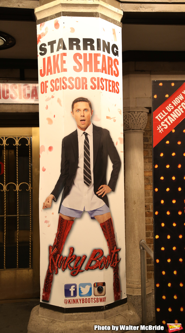 """Theatre Marquee for Wayne Brady's return to """"Kinky Boots"""" on Broadway also starring Jake Shears on March 5, 2018 at the Hirschfeld Theatre in New York City."""