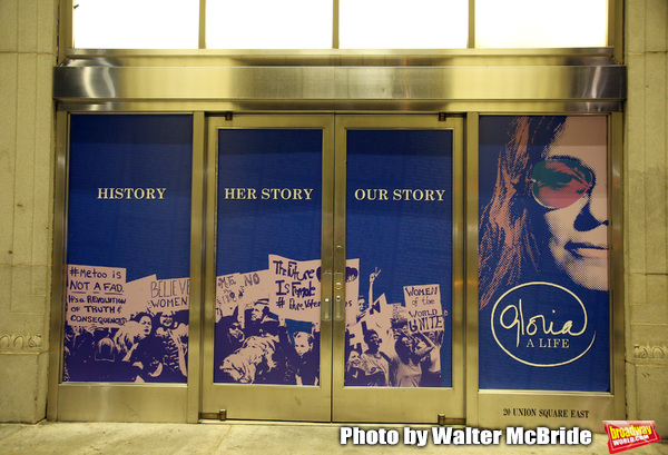 """Theatre Marquee the Opening Night Performance for """"Gloria: A Life"""" on October 18, 2018 at the Daryl Roth Theatre in New York City."""