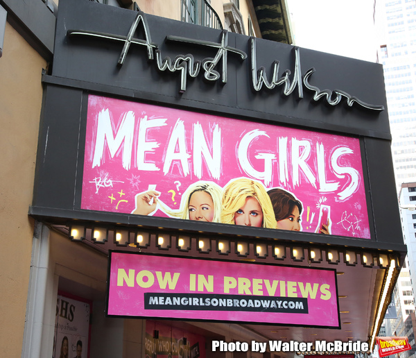 """Theatre Marquee for the Broadway Opening Night Performance of  """"Mean Girls"""" at the August Wilson Theatre Theatre on April 8, 2018 in New York City."""