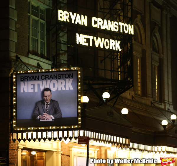 """Theatre Marquee for the Broadway Opening Night Performance Curtain Call for """"Network"""" starring Bryan Cranston at the Belasco Theatre on December 6, 2018 in New York City."""