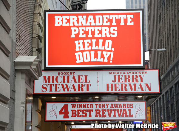 Theatre Marquee unveiling for Bernadette Peters starring in  'Hello, Dolly!' at the Shubert Theatre on January 17, 2018 in New York City.