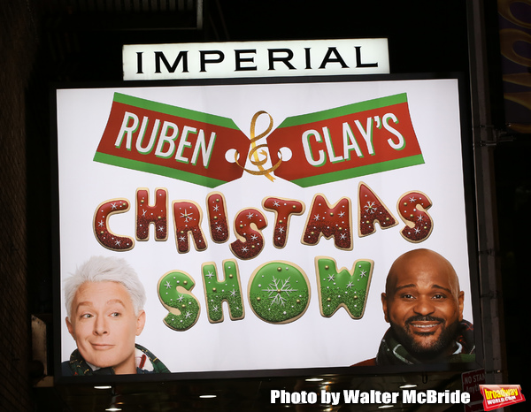 "Theatre Marquee for the Opening Night of ""Ruben & Clay's First Annual Christmas Show"" starring Ruben Studdard and Clay Aiken on December 11, 2018 at the Imperial Theatre in New York City."