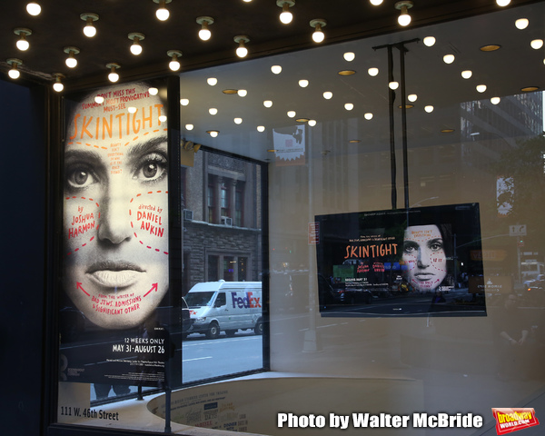"""Theatre Marquee for Idina Menzel starring in The Roundabout Theatre Company production of """"Skintight"""",  at the Laura Pels Theatre on May 16, 2018 in New York City."""