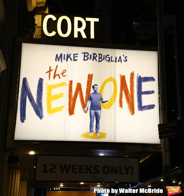 """Theatre Marquee for """"Mike Birbiglia's The New One"""" on October 17, 2018 at the Cort Theatre in New York City."""