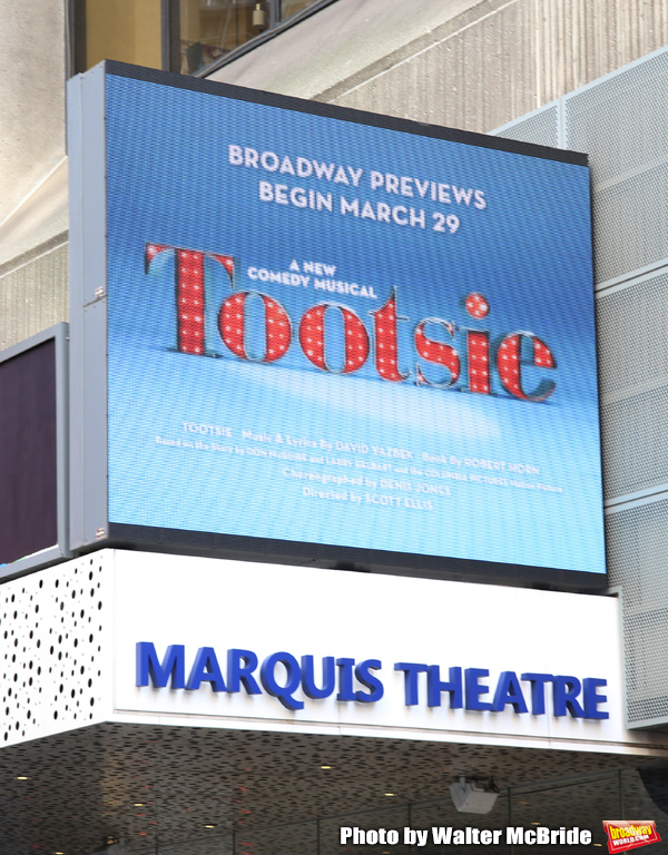 "Theatre Marquee for ""Tootsie"". The show features an original score by David Yazbek, a book by Robert Horn (13, choreography by Denis Jones, musical direction by Andrea Grodyand directed by Scott Ellis. Leading the company are Santino Fontana, Lilli Cooper"