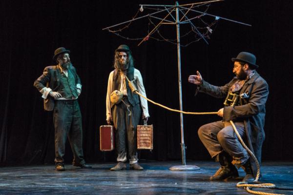 Eli Rosen as Vladimir, Richard Saudek as Lucky, and Gera Sandler as Pozzo. Photo by D Photo