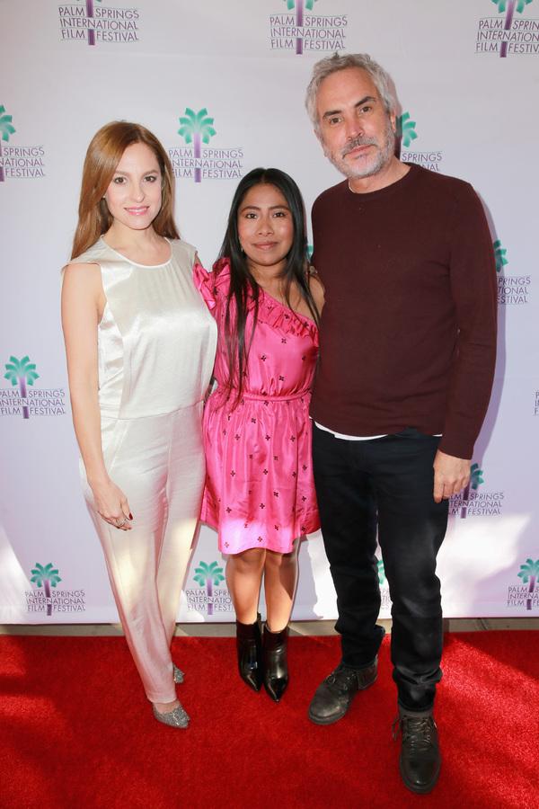 Marina De Tavira, Yalitza Aparicio, and Alfonso Cuaron Photo