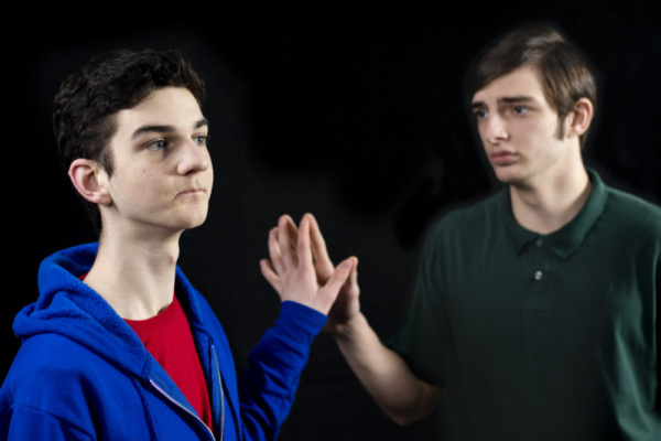 Will McDonald as Christopher John Francis Boone and Dylan Cantu as Mr. Ed Boone  photo by Jason Johnson-Spinos