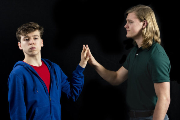 Dylan Weand as Christopher John Francis Boone and Logan Beutel as Mr. Ed Boone  photo by Jason Johnson-Spinos