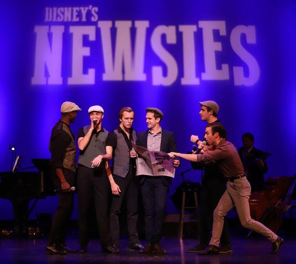 Dan DeLuca  and Company, announcing Disney's Newsies at The LEX