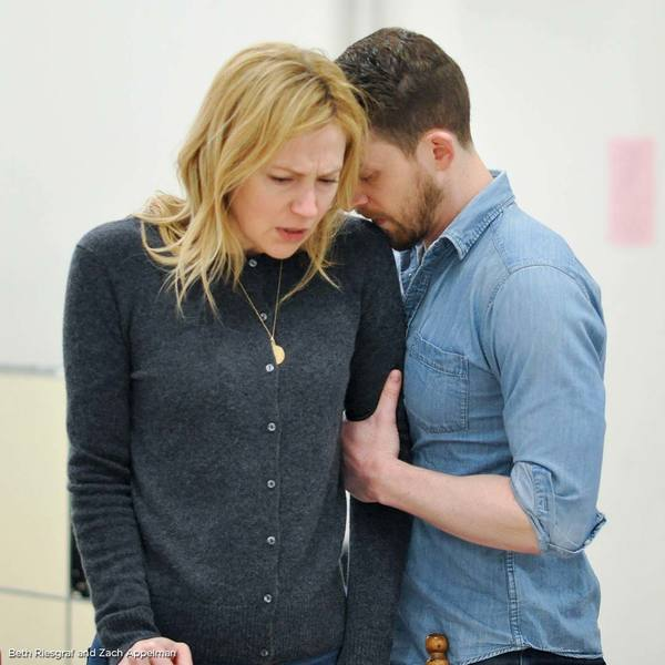 Beth Riesgraf and Zach Appelman in rehearsals for The Engagement Party. Photo by Liss Photo