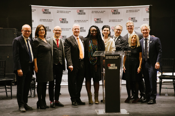 Department of Cultural Affairs Commissioner Tom Finkelpearl, Department of Design and Construction Lorraine Grillo,MCC Artistic Director William Cantler, MCC Artistic Director Robert LuPone, Playwright Jocelyn Bioh, MCC Board Member Julianna Margulies, MC