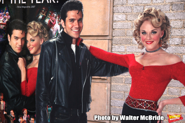 """Derek Keeling & Ashley Spencer poster Atmosphere at GREASE playing at the Brooks Atkinson Theatre during """"Black Sunday on Broadway"""" with nine productions closing all on the same Sunday afternoon. January 4, 2009"""