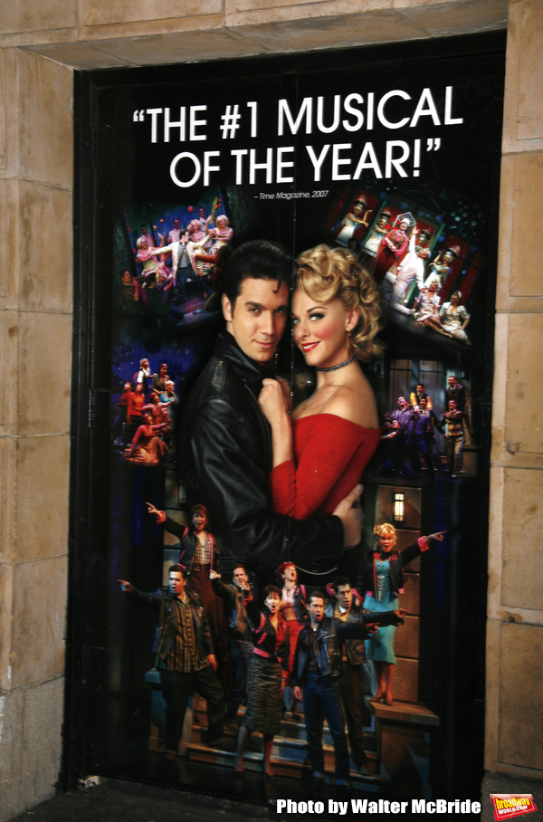 Derek Keeling & Ashley Spencer theatre poster for GREASE at the Brooks Atkinsoon Yheatre in New York City.   October 7, 2008