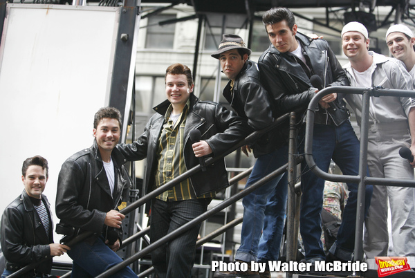 Ryan Patrick Binder & Ace Young & Keven Quillon, Jose Restrepo & Derek Keeling ( GREASE ) attending BROADWAY on BROADWAY 2008 in Times Square, New York City. September 14, 2008