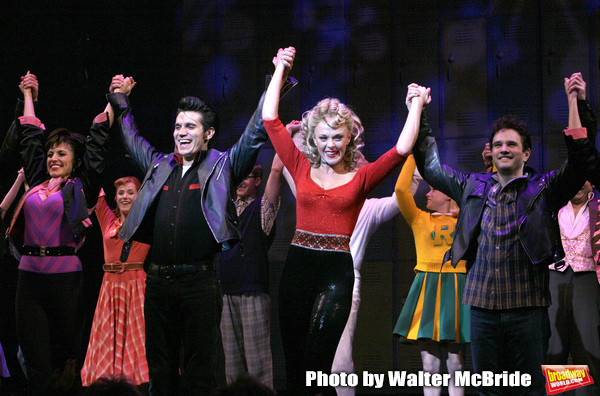 Derek Keeling & Ashley Spencer take a bow during Olivia Newton-John is headed back to Rydell High to promote Breast Cancer Awareness after the Curtain Call for GREASE at the Brooks Atkinsoon Yheatre in New York City.  October 7, 2008
