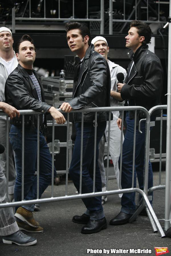 Ryan Patrick Binder & Derek Keeling & Ace Young     ( GREASE )attending BROADWAY on BROADWAY 2008 in Times Square, New York City. September 14, 2008