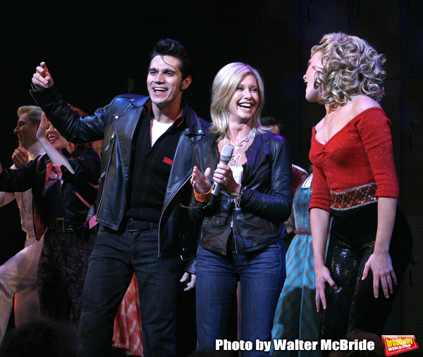 Olivia Newton John, Derek Keeling, Ashley Spencer during Olivia Newton-John is headed back to Rydell High to promote Breast Cancer Awareness after the Curtain Call for GREASE at the Brooks Atkinsoon Yheatre in New York City.  October 7, 2008