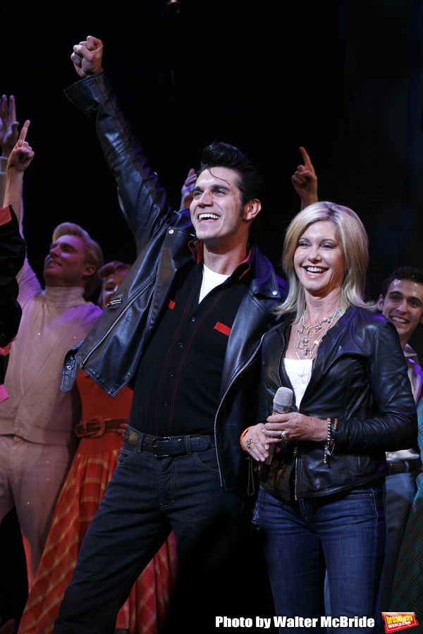 Olivia Newton John and Derek Keeling during Olivia Newton-John is headed back to Rydell High to promote Breast Cancer Awareness after the Curtain Call for GREASE at the Brooks Atkinsoon Yheatre in New York City.  October 7, 2008