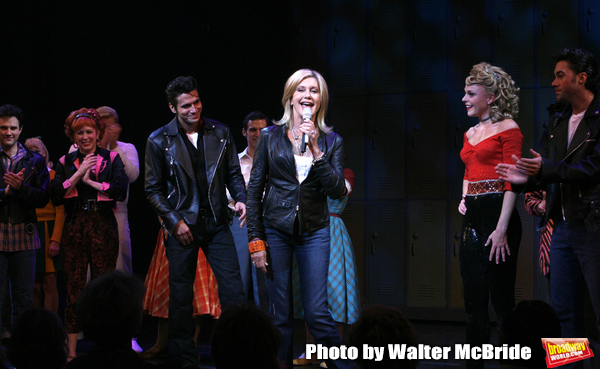Olivia Newton-John is headed back to Rydell High to promote Breast Cancer Awareness after the Curtain Call for GREASE at the Brooks Atkinsoon Yheatre in New York City.  October 7, 2008 ( pictured: Olivia Newton John, Derek Keeling, Ashley Spencer,  Ace Yo