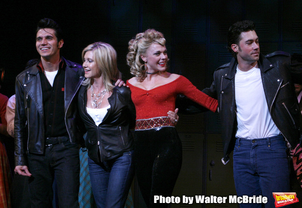 Olivia Newton-John is headed back to Rydell High to promote Breast Cancer Awareness after the Curtain Call for GREASE at the Brooks Atkinsoon Yheatre in New York City.  October 7, 2008 ( pictured: Olivia Newton John, Derek Keeling, Ashley Spencer, Ace You