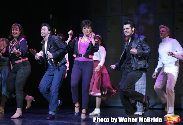 Lindsay Memdez, Ace Young, Derek Keeling & Anna Aimee White during American Idol Heartthrob Ace Young makes his Broadway Debut in the Broadway Revival of GREASE at the Brooks Atkinson Theatre in New York City. September 11, 2008