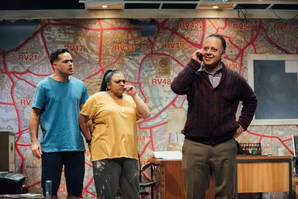 Karan Gill (Shazad), Rina Fatania (Samina), Kammy Darweish (Mansha). Credit Helen Murray