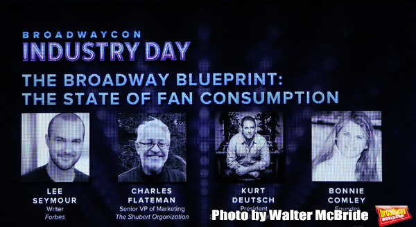 "Lee Seymour, Charlie Flateman, Kurt Deutsch and Bonnie Comley on stage during Broadwaycon Industry Day ""The Broadway Blueprint: The State of Fan Consumption"" at New York Hilton Midtown on January 11, 2019 in New York City."