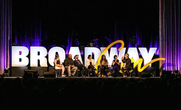 Patti Murin, James Monroe Iglehart, Christian Borle, Ashley Brown, Merle Dandridge, Susan Egan, and Thomas Schumacher