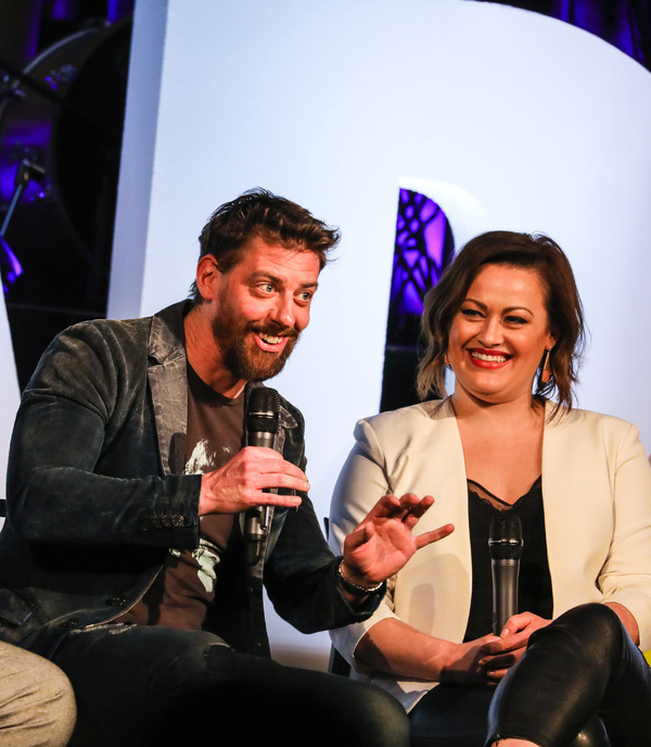 James Monroe Iglehart, Christian Borle, and Ashley Brown