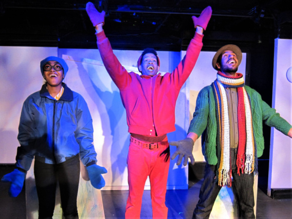 Gabrielle Bullard, Justin Jorrell, and Justin Campbell in The Snowy Day and Other Stories by Ezra Jack Keats, now playing at St. Luke''s Theatre.