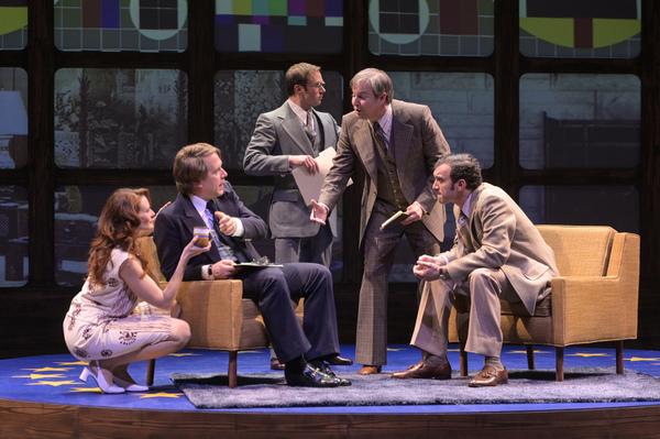 Caroline Cushing (Elena Wright), David Frost (Jeremy Webb), John Birt (Adam Shonkwiler), Bob Zelnick (Stephen Muterspaugh), and Jim Reston (Kenny Toll)