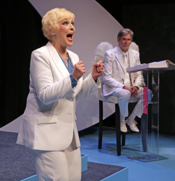 Laura Houck as God and Paul Haley as Gabriel