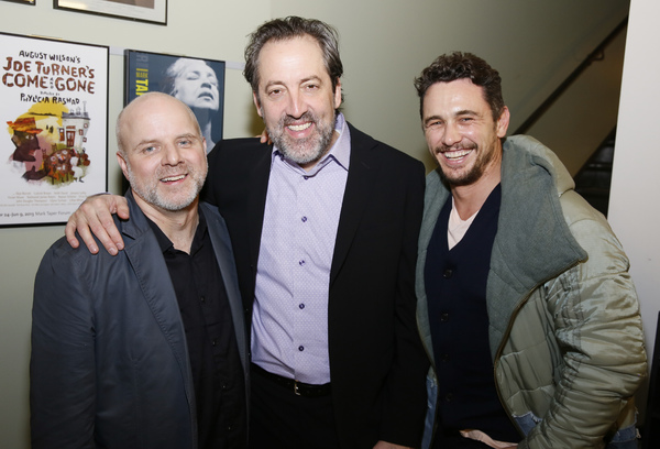From left, director Dexter Bullard, cast member Ian Barford  and actor James Franco  Photo