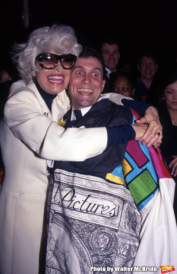 """Carol Channing and Stephen Bourneuf attend the Broadway Opening Night Gypsy Robe Ceremony for """"HELLO, DOLLY!"""" at the Lunt Fontanne Theatre on April 11, 1996 in New York City."""