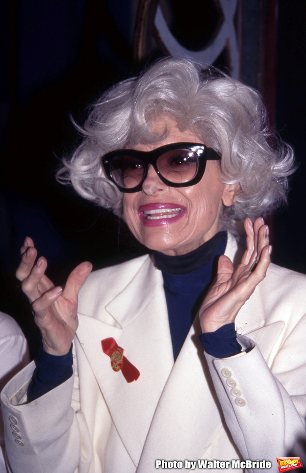 """Carol Channing attends the Broadway Opening Night Gypsy Robe Ceremony for """"HELLO, DOLLY!"""" at the Lunt Fontanne Theatre on April 11, 1996 in New York City."""