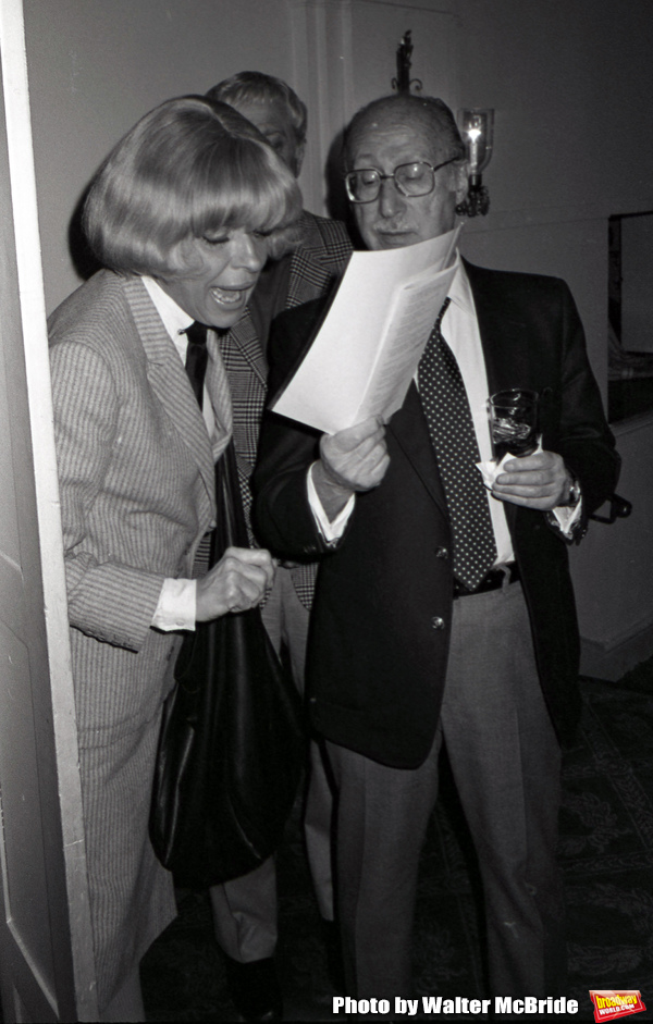 Carol Channing and Sammy Cahn attend a Gala on March 1, 1982 in New York City.  Photo