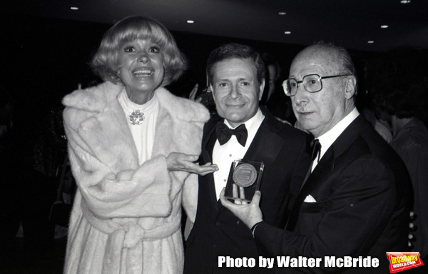 Carol Channing, Jerry Herman and Sammy Cahn attend the Songwriters Hall Of Fame held on March 28, 1982 at the Hilton Hotel in New York City.