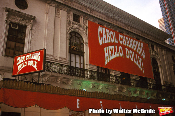 Theatre Marquee for Carol Channing starring in a revival of the JERRY HERMAN Musical 'HELLO, DOLLY!' at the Lunt Fontaine Theatre in New York City on September 1, 1995