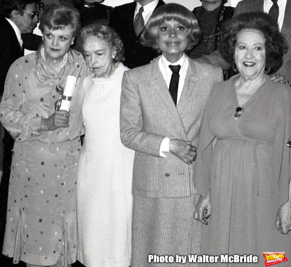 Angela lansbury, Lillian Gish, Carol Channing and Ethel Merman attend the Theatre Hall Of Fame Awards held on March 28, 1982 at the Uris Theater, now called the Gershwin Theater, New York City.