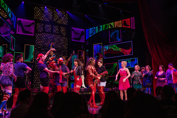 Tiki Barber, Callum Francis, Andy Kelso, and the cast of Kinky Boots