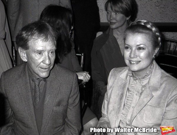 Burgess Meredith and Princess Grace Kelly attend the Theatre Hall Of Fame Awards held on March 28, 1982 at the Uris Theater, now called the Gershwin Theater, New York City.