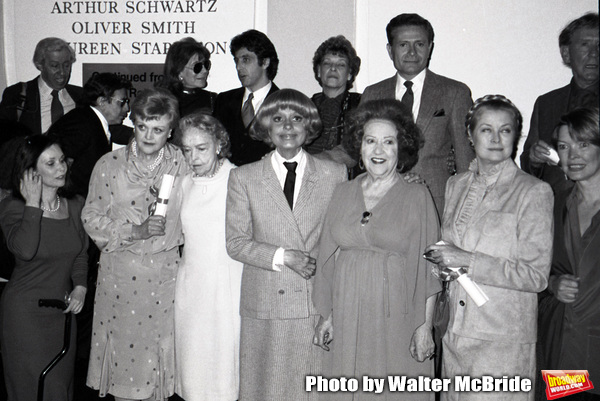 Adolph Green, Betty Comden, Al Pacino, Jerry Herman, Burgess Meredith, Susan Strassberg, Angela lansbury, Lillian Gish, Carol Channing, Ethel Merman, Princess Grace Kelly and Ellen Burstyn attend the Theatre Hall Of Fame Awards held on March 28, 1982 at t