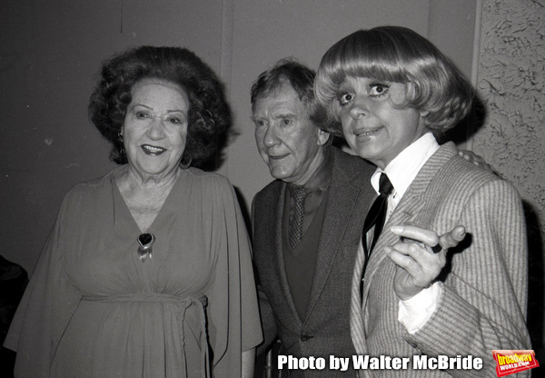 Ethel Merman, Burgess Meredith and Carol Channing attend the Theatre Hall Of Fame Awards held on March 28, 1982 at the Uris Theater, now called the Gershwin Theater, New York City.